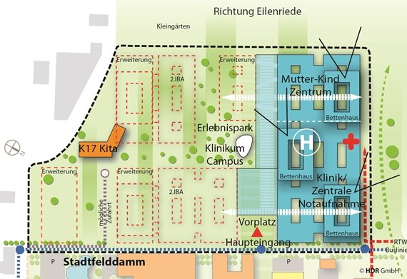 Map view of the extension at the Stadtfelddamm