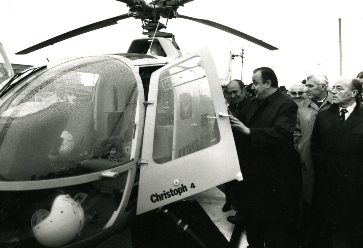 Historical photograph from 1972: Federal Minister of the Interior Hans-Dietrich Genscher Christoph 4 in service. Copyright: Archive of the MHH / Communication Office